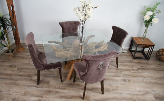 1.5m x 1.2m Reclaimed Teak Root Rectangular Dining Table with 4 or 6 Windsor Ring Back Dining Chairs