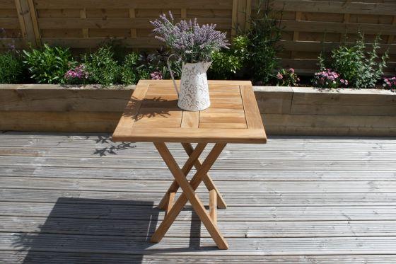 60cm Teak Square Folding Table
