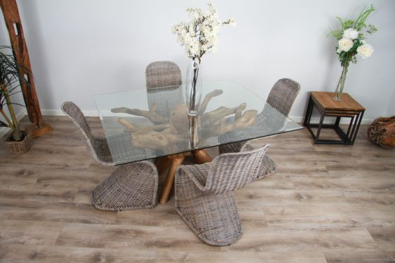 1.5m x 1.2m Reclaimed Teak Root Rectangular Dining Table with 4 or 6 Zorro Chairs