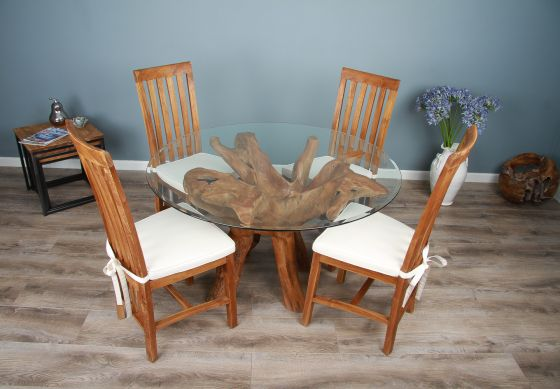 1.2m Reclaimed Teak Root Circular Dining Table with 4 or 6 Santos Chairs