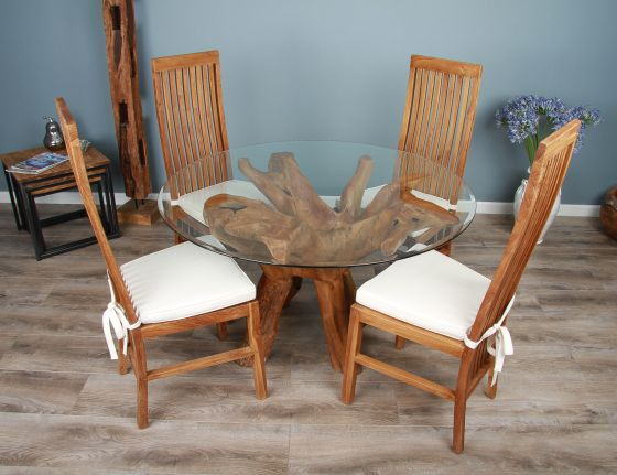 1.2m Reclaimed Teak Root Circular Dining Table with 4  or 6 Vikka Chairs
