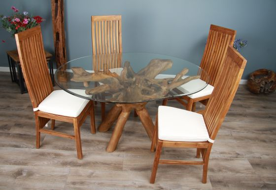 1.5m x 1.2m Reclaimed Teak Root Oval Dining Table with 4 or 6 Vikka Chairs