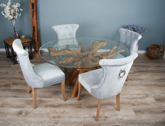 1.5m x 1.2m Reclaimed Teak Root Oval Dining Table with 4 or 6 Windsor Ring Back Dining Chairs