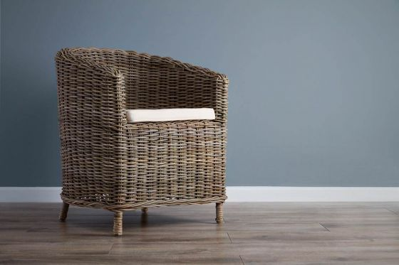 Natural Wicker Tub Dining Chair - Riva