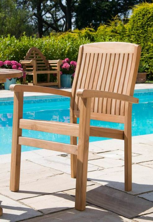Marley Solid Teak Stacking Garden Armchair