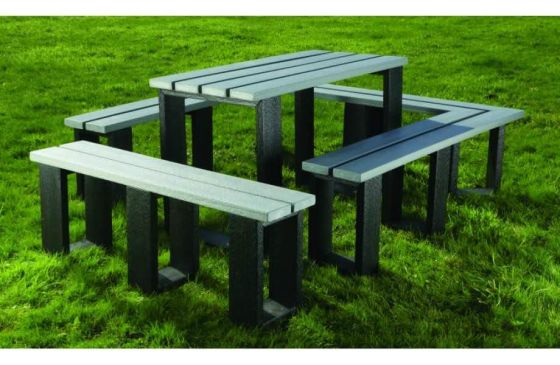 Recycled Plastic Modular Table and Bench Set