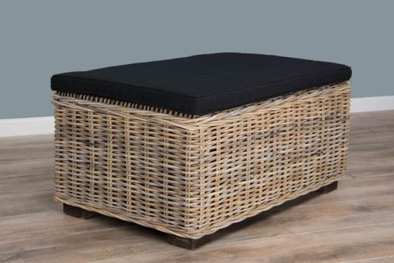 Natural Wicker Glass Topped Coffee Table