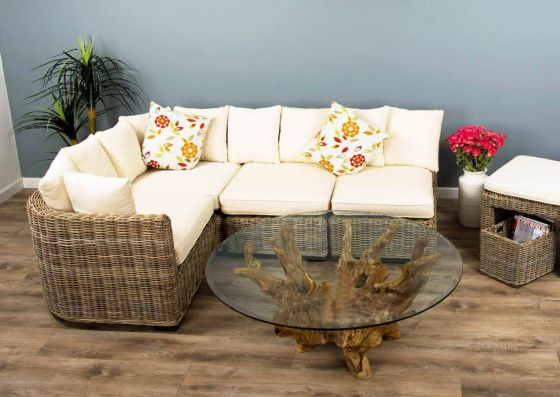 Natural Wicker 4 Sectional Puri Sofa