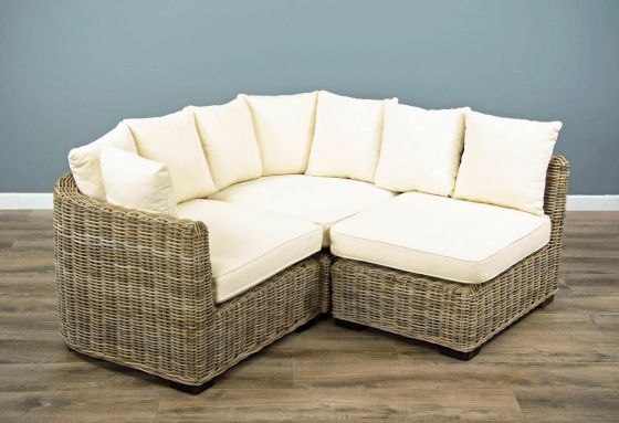 Natural Wicker 3 Sectional Puri Sofa