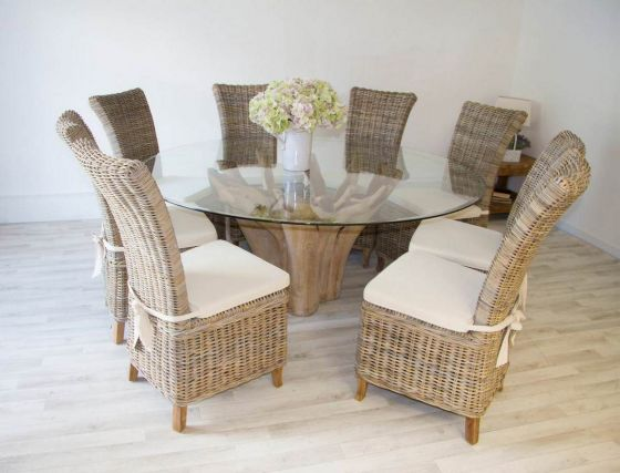1.8m Reclaimed Teak Root Flute Circular Dining Table with 8 Latifa Chairs