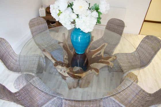 1.8m Reclaimed Teak Root Flute Circular Dining Table with 8 Stackable Zorro Chairs