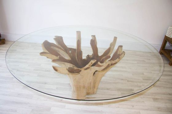 1.8m Reclaimed Teak Root Flute Circular Dining Table