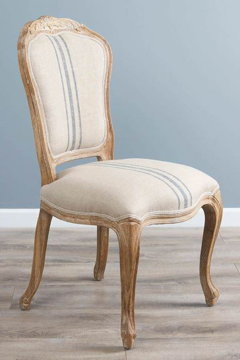 American Oak Grey Wash Beaumont Stripe Upholstered Chair