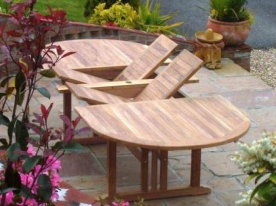 Teak Garden Table Oval Double Extending 1.2m x 2.4m-3.2m