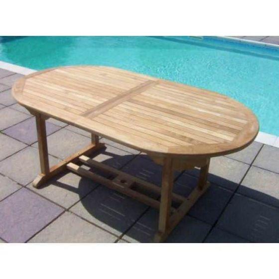 1.6m Teak Oval Pedestal Table