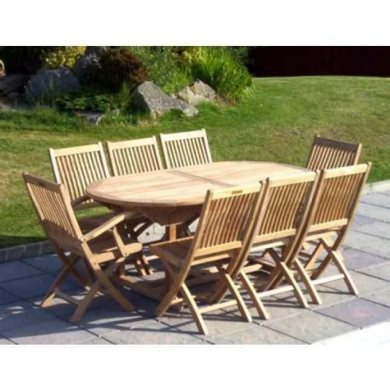 1.9m Teak Oval Pedestal Table with 6 Kiffa Folding Chairs and 2 Armchairs