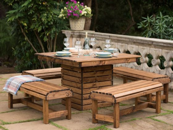 Orchard 1.1m Pedestal Table with 4 Backless Benches