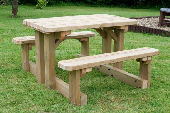 Walk Through Swedish Redwood Picnic Table