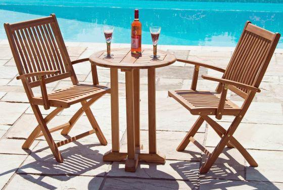 60cm Teak Circular Pedestal Table with 2 Kiffa Folding Armchairs