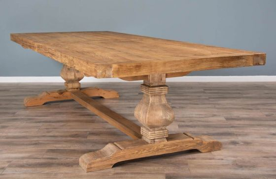 3m Reclaimed Elm Pedestal Dining Table