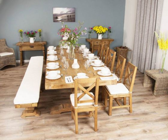 3m Reclaimed Elm Pedestal Dining Table with 7 Elm Cross Back Chairs and 1 Bench