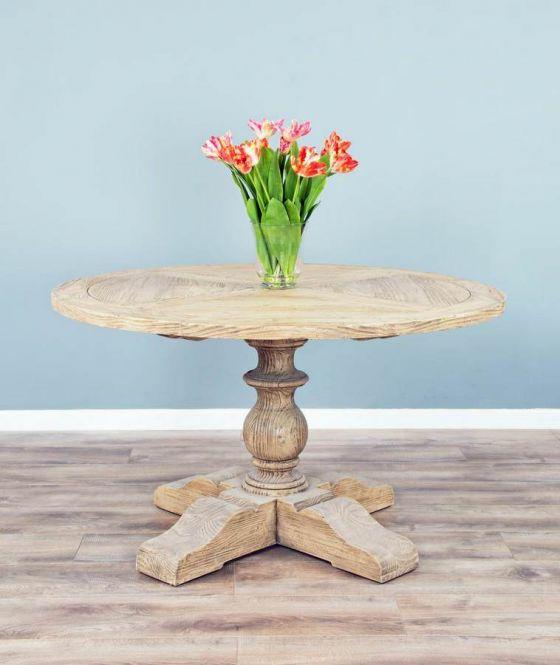 1.3m Reclaimed Pine Circular Pedestal Table