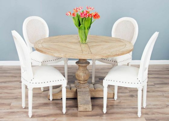 1.3m Reclaimed Pine Circular Pedestal Table with 4 or 6 Ellena Dining Chairs