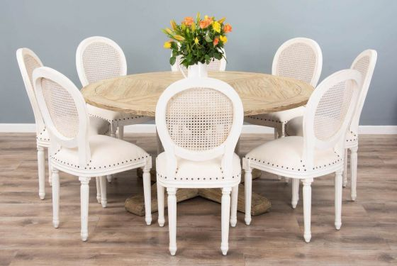 1.6m Reclaimed Pedestal Dining Table with 8 Ellena Chairs