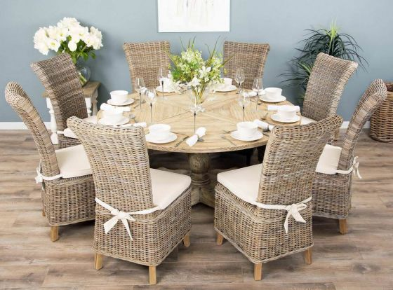 1.6m Reclaimed Pedestal Dining Table with 8 Latifa Chairs