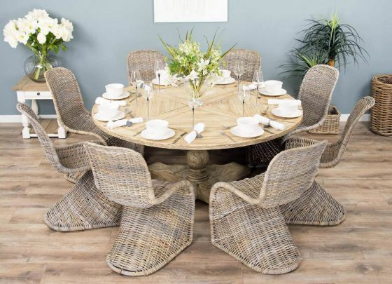 1.6m Reclaimed Pedestal Dining Table with 8 Stackable Zorro Chairs