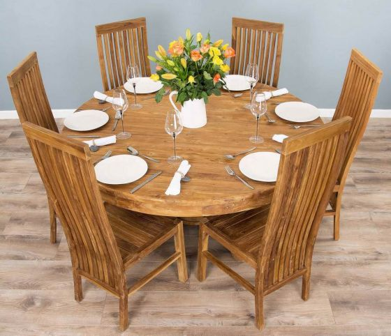 1.5m Reclaimed Teak Circular Pedestal Dining Table with 6 or 8 Vikka Chairs