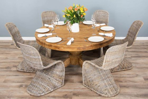 1.5m Reclaimed Teak Circular Pedestal Dining Table with 6 Zorro Chairs