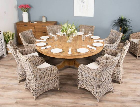 1.8m Reclaimed Teak Circular Pedestal Table with 8 Donna Armchairs