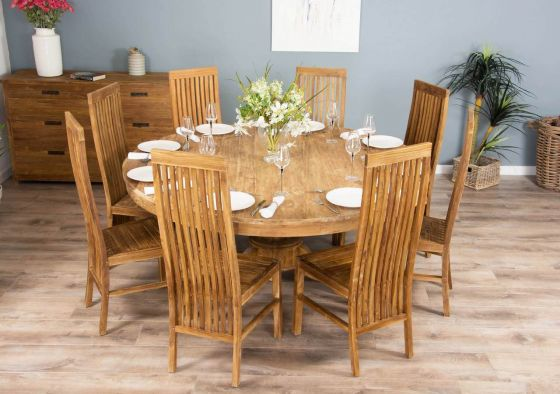 1.8m Reclaimed Teak Circular Pedestal Table with Vikka Dining Chairs