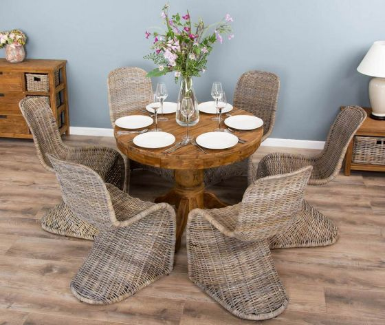 1m Reclaimed Teak Circular Pedestal Dining Table with 6 Stackable Zorro Chairs