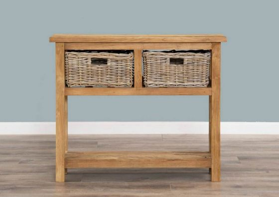 Reclaimed Teak 2 Drawer Hall Table with Shelf plus 2 Kubu Grey Natural Wicker Baskets