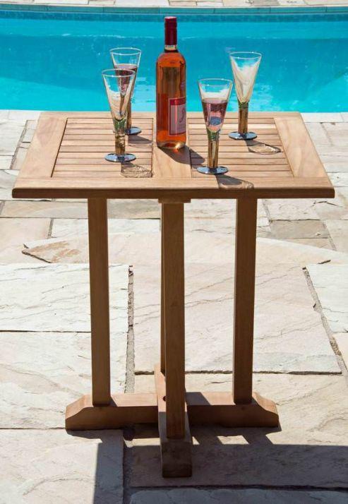 70cm Square Pedestal Teak Garden Table