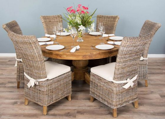 1.5m Reclaimed Teak Circular Pedestal Dining Table with 6 or 8 Latifa Chairs