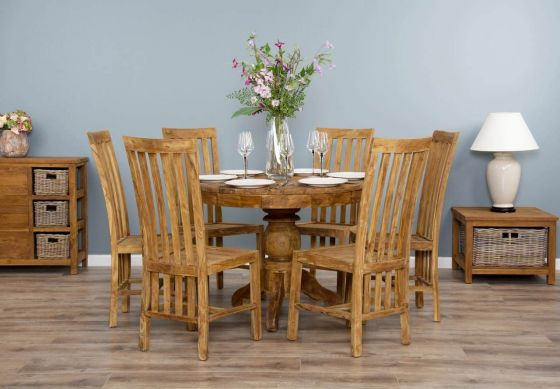 1m Reclaimed Teak Circular Pedestal Dining Table with 6 Santos Dining Chairs