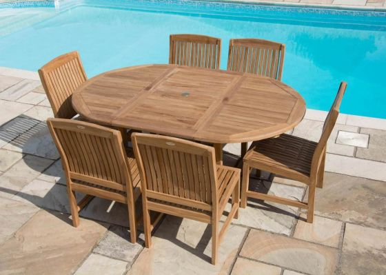 1.2m x 1.2m - 1.8m Teak Circular Extending Table with 6 Marley Chairs - With or Without Arms