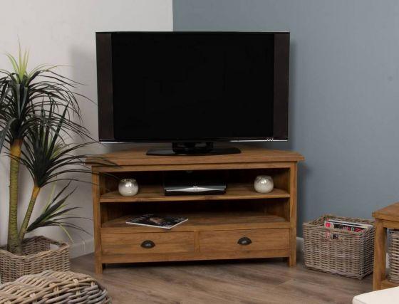 Reclaimed Teak Natural Corner TV Cabinet