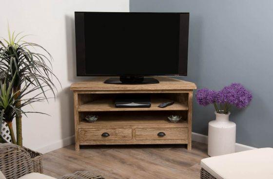 Reclaimed Teak White Wash Corner TV Cabinet