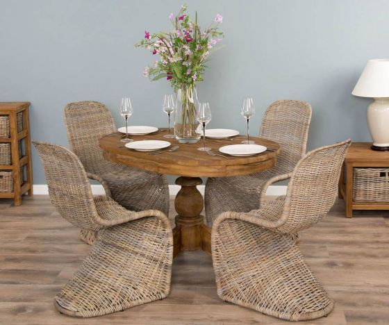 1.2m Reclaimed Teak Oval Pedestal Dining Table with 4 Stackable Zorro Chairs