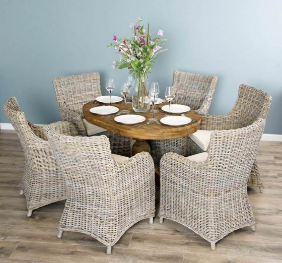 1.2m Reclaimed Teak Oval Pedestal Dining Table with 6 Donna Armchairs