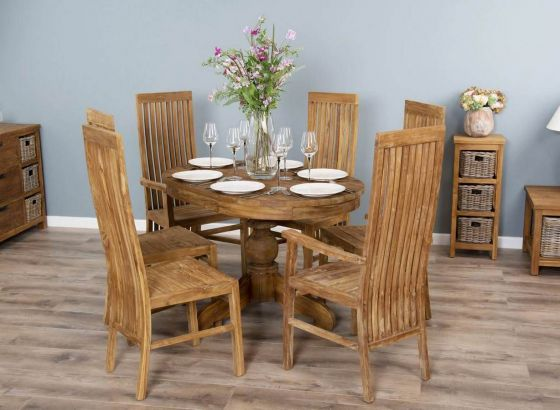 1.2m Reclaimed Teak Oval Pedestal Dining Table with 4 Vikka Dining Chairs & 2 Vikka Armchairs