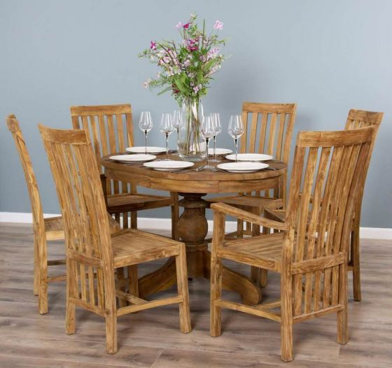 1.2m Reclaimed Teak Oval Pedestal Dining Table with 4 Santos Dining Chairs & 2 Santos Armchairs