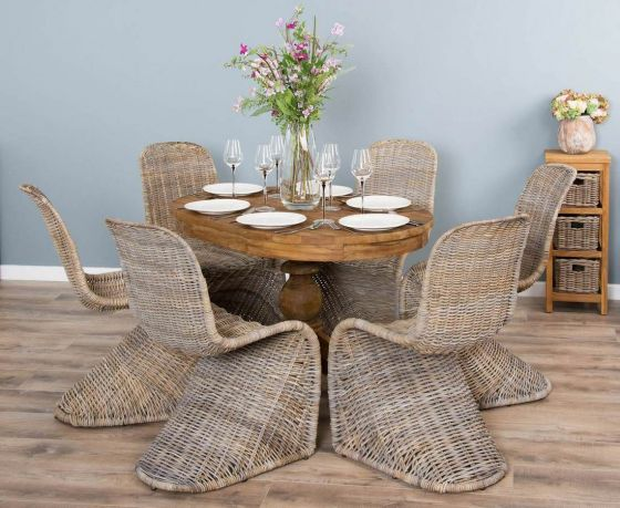 1.2m Reclaimed Teak Oval Pedestal Dining Table with 6 Stackable Zorro Chairs