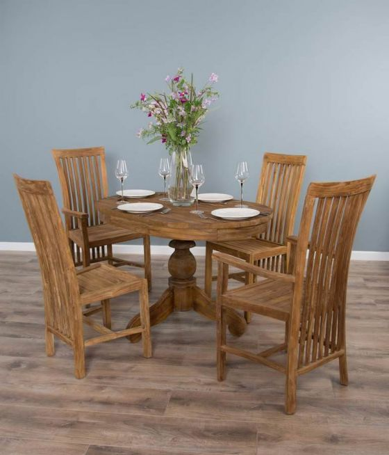 1.2 Reclaimed Teak Oval Pedestal Dining Table with 2 Santos Dining Chairs & 2 Santos Armchairs