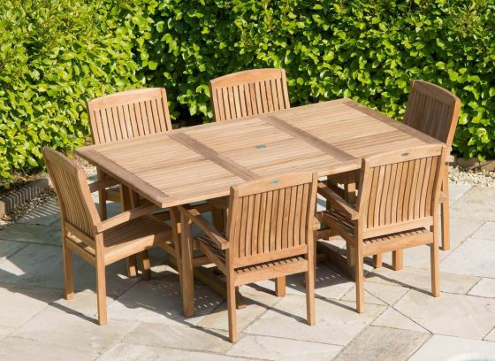 1m x 1.8m - 2.4m Teak Rectangular Extending Table with 6 Marley Armchairs