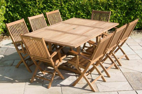 1m x 1.8m - 2.4m Teak Rectangular Extending Table with 8 Kiffa Folding Armchairs